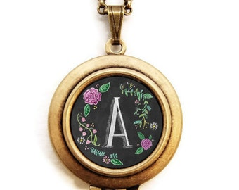 Art Locket - Chalkboard Initial Alphabet Letter - Custom Personalized Initial Letter Locket Necklace