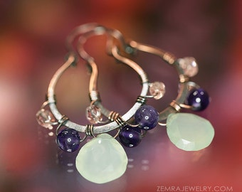 Chalcedony & Amethyst Handcrafted Copper Wire Wrap Dangle Earrings - Purple, Aqua, Peach Colors