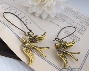 Soaring Birds Earrings. Antiqued Gold Plated Flying Birds, Antiqued Brass Long Kidney Ear Wires. Bird Ear Jewelry