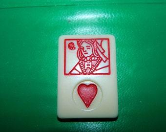 Vintage Rummy Game Piece QUEEN of Hearts, Valentine Game Chip, Resin, Jewelry Supplies, Craft, Mixed Media, Heart, Valentine, QUEEN