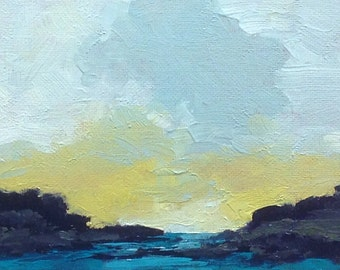 YESTERDAY, oil painting landscape original oil, 100% charity donation, original painting  5x7 canvas panel, clouds, ocean
