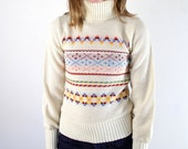 Knit Sweater • Fair Isle Sweater • Turtleneck • 80s Sweater • 1980s White Sweater • Nordic Sweater • Knit Turtleneck • Geometric Sweater