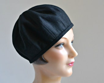 Beret in Black Linen - Women's Beret - Made to Order - 3 WEEKS FOR SHIPPING