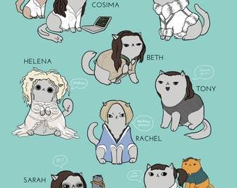 Orphan Black Cats - 8.5x11in. print