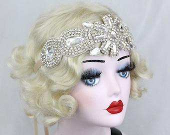 Great Gatsby Head Piece - Crystal Headband - Bridal Hair Accessory - 1920s Flapper Costume - Silent Screen Star Headpiece -  Silver Headband
