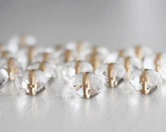 25 Clear Gold Lined 8x6mm Rondelles Czech Glass Beads