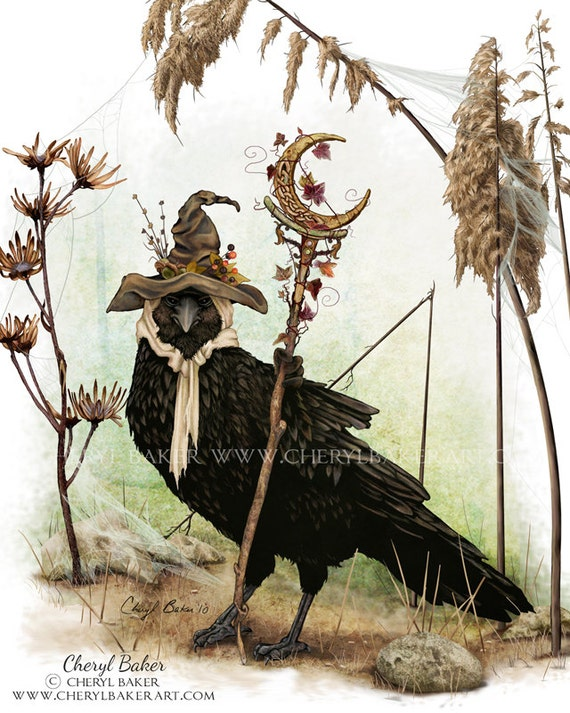 Crow Art Print - Crow Woodland Decor - Woodland Nursery Art - Woodland Critter Crow - Crow Cottage Decor - Raven Art - Crow Wall Art - Crow