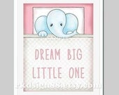 Elephant Nursery Art - Dream Big Little One - Kids Wall Art - Baby Girl Nursery Decor - Nursery Quote - Illustration