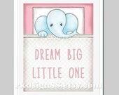 Elephant Nursery Art - Dream Big Little One - Kids Wall Art - Baby Girl Nursery Decor - Nursery Quote - Illustration