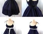 SAMPLE SALE Indigo Linen Ruffled Swing Dress