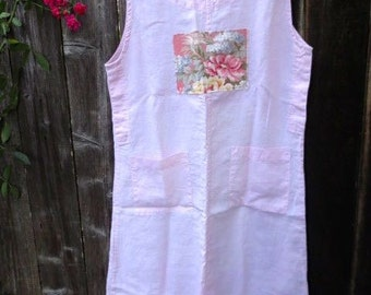 Pink Linen Maxi Tank Dress Everyday Sundress Bohemian Boho Chic Spring Beach Festival Shabby Cottage Chic Upcycled Vintage Floral Fabric