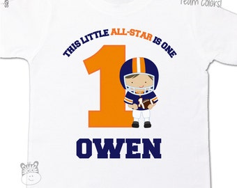 First birthday shirt football pick your team colors any age all-star football boy personalized Tshirt