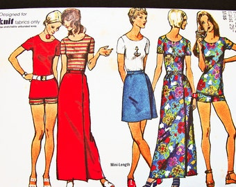 1970s Wrap Skirt Pattern Misses size 10 Maxi Skirt Pattern, Mini Skirt Pattern Short Shorts with Top Vintage Sewing Pattern