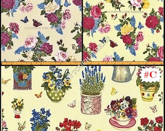 """Makower """"Summer Garden"""" Roses Potted Plants Cotton Fabric 1/2 yard 18"""" x 44"""" (Make a Selection)"""