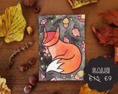 Watercolor autumn & fox, original postcard illustration
