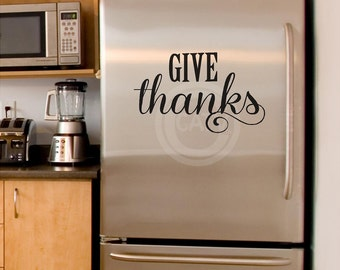 Give Thanks with swirl flourish vinyl lettering Thanksgiving wall decal sticker diy home decor