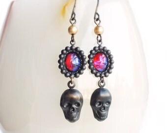 Black Skull Earrings Vintage Dragons Breath Opal Earrings Black Brass Gothic Creepy Skull Jewelry Dragons Breath