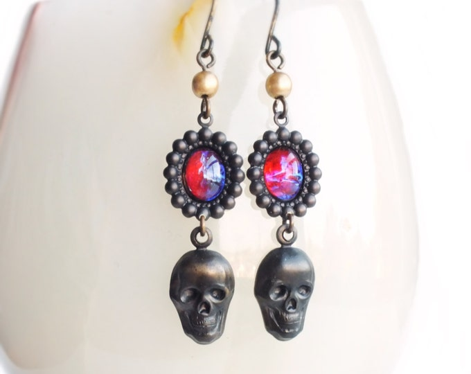Black Skull Earrings Vintage Dragons Breath Opal Earrings Black Brass Gothic Creepy Skull Jewelry Dragons Breath