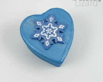 Blue Snowflake heart keepsake box, mixed media jewelry box