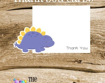 Dino Friends Party - Set of 8 Purple Dinosaur Thank You Cards by The Birthday House
