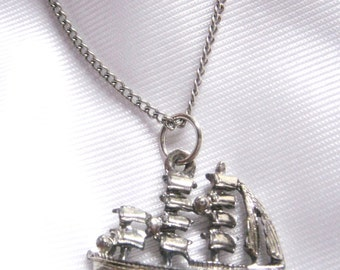 Silver Tone Sailboat Necklace