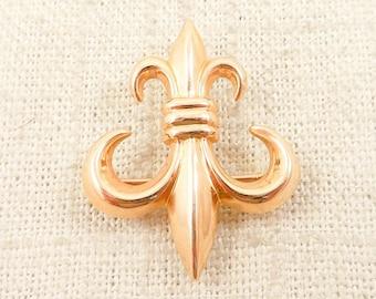 Vintage 14K Gold Fleur De Lis Brooch with Watch Fob Clip