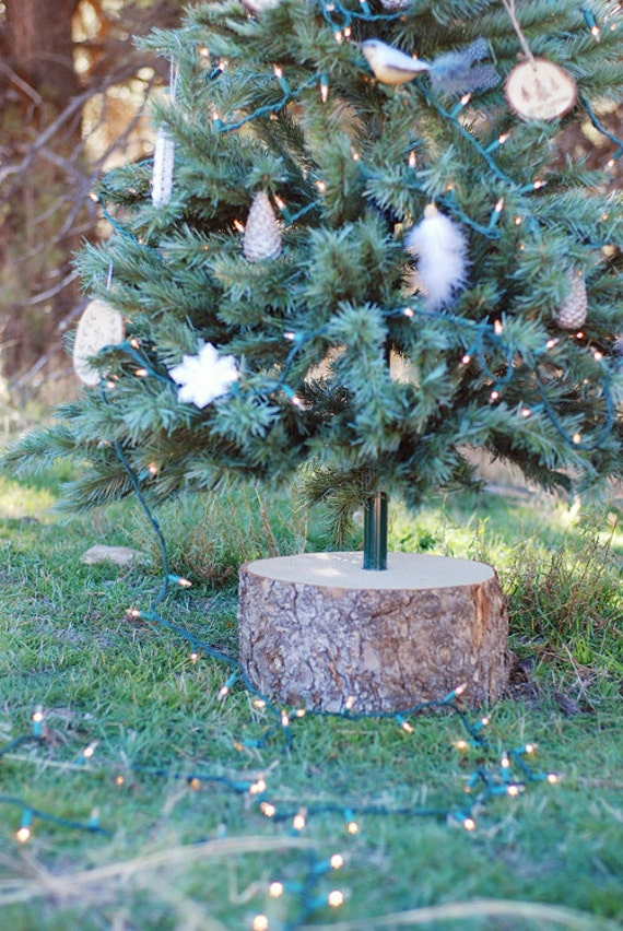 Rustic wood stump christmas tree base stand for artificial