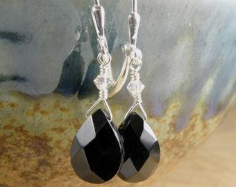 Onyx Earrings, Black Stone, Sterling Silver, Teardrop Briolette, Drop Handmade Jewelry, Winter Accessories, Fall Fashion, Autumn