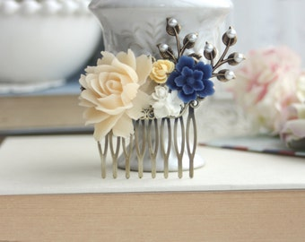 Blue Flower, Cream Rose, White Pearl, Brass Leaf Collage Hair Comb. Something Blue, Maid Of Honor, Bridesmaid Comb, Ivory and Blue Wedding.