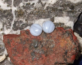 8mm Blue Lace Agate Delicate Baby Blue Titanium Studs Hypo Allergenic Made in Newfoundland Chakra