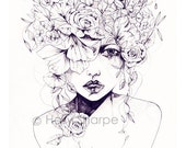 Flower Fro // Limited Edition giclée print from an original pencil drawing by Holly Sharpe