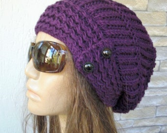 Womens Slouchy Hat  Winter hat  Knit Hat  Beanie  hat   Womens Beanie   Slouchy Beanie Purple Hat  Winter Accessories Fashion  Valentine's