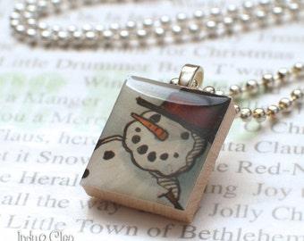 Snowman Scrabble Pendant, Handmade Scrabble Tile Art Necklace, Wood Pendant, Charm, Scrabble Jewelry, Tiny Jewelry, Snowman Lover Gift