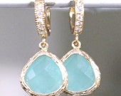 Chrysolite Opal Crystal Set in Gold and Dangling from a Pave' CZ Hoop Earrings