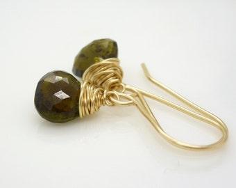 Petite gold dark green tourmaline earrings, olive green earrings, tourmaline gemstone 14kt gold filled wire wrapped earrings