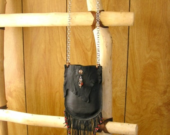 "Fringed Black Leather Beaded bag with 36"" chainmail strap -6 1/2"" x 4 1/4""  with a dragon charm, crystal, and stone charms"