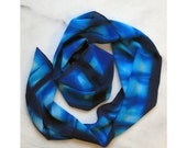 Blue and Turquoise Abstract Organic Hand Dyed Crepe de Chine Silk Scarf -411