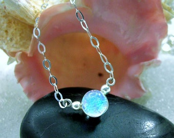 Delicate Dichroic Glass Mermaid Tear Sterling Silver Choker in Translucent Tropical Blue, Dainty, Delicate, Sparkling