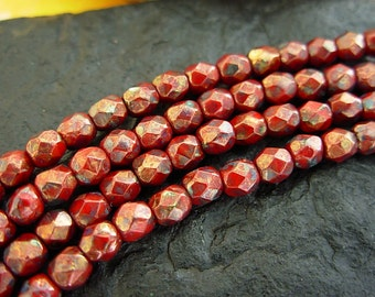 4mm Czech Fire Polished Glass Beads- Red- Bronze Picasso (50)