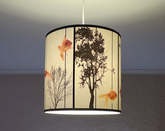 Fish Carousel pendant lamp shade lampshade - lighting, goldfish, zen decor, drum lamp shade, black trees, white pendant light, unique lamp,