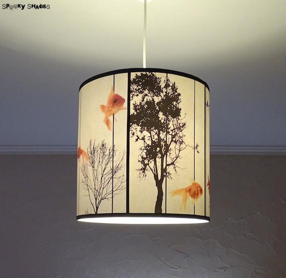 Fish Carousel pendant lamp shade lampshade - lighting, goldfish, zen decor, drum lamp shade, white pendant light, unique lamp, modern decor