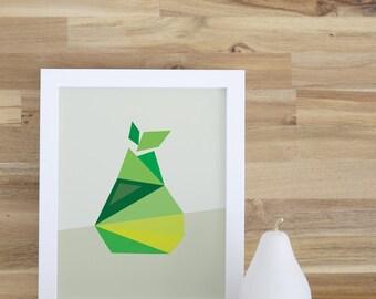Kids Decor, Pear Art Print, Nursery Wall Art, Green, Fruit, Baby Decor, 8x10, 16x20, Fruit, Kitchen, Kids Wall Art, Kids Decor. Pear Print