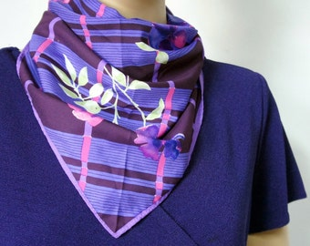 Vintage Scarf 1980's Vera Scarf Purple Vintage Floral Plaid Square Pink and Purple Kerchief