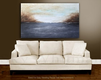 Original Painting Modern Gray and sand modern abstract oil painting landscape Free Shipping MADE-TO-ORDER Ready to hang by Sky Whitman