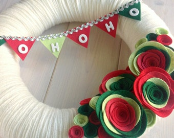 Yarn Wreath Felt Flower Handmade Holiday Door Decoration - HoHoHo 12in