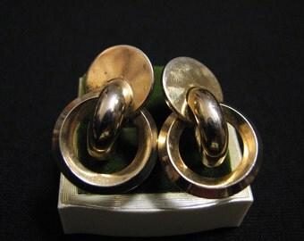 Vintage Gold Tone Geometric Circle Screwback Earrings