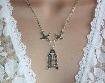 Birdcage Necklace - Silver Sparrows, Swallow Necklace, Couples Gift, Mom Gift, Bridesmaids Gift, Sisters gift