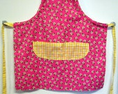 Child's Apron--Pink Floral and Yellow Gingham