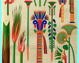 antique victorian egyptian botanical ornaments illustration DIGITAL DOWNLOAD