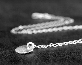 Tiny Silver Textured Dot Necklace, Sterling Silver Necklace, Silver circle Necklace, Great Gift, Everyday Necklace